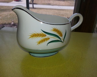 Vintage 1950s International Viking Blue Wheat China Gravy Boat
