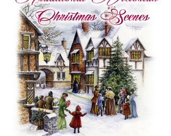 Printable Watercolour Victorian Christmas Scenes - Two designs