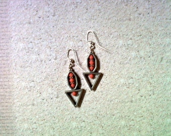 Brushed Silver and Coral Earrings (2122)