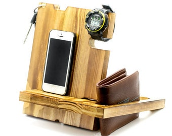 Personalized iPad Dock,Wood Docking Station,Anniversary Gifts For Men,Gift For Him ,Birthday Gifts For Boyfriend, iPhone Dock