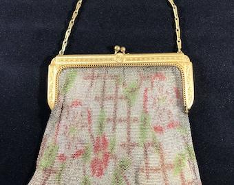 Whiting & Davis Co Dresden Mesh Antique Evening Bag Purse Handbag With Mirror