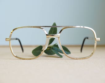 Vintage 70s Eyeglass Aviator/New Old Stock/Frames/Gold/ Made In USA Eyeglasses By Titmus/ Disco/ Retro