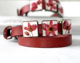 Red bracelet Leather bracelet anniversary gift bracelet for wife Eco Friendly bracelet for girlfriend Red flowers bracelet Special gifts