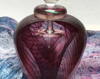 Purple Iridescent Art Glass Decanter with clear glass stopper