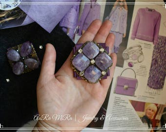 Handmade Brooches With Amethyst