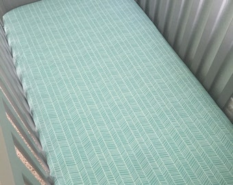 Teal Herringbone Crib Sheet OR Changing pad cover