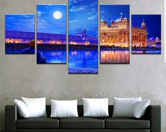 Indian Golden Temple Seascape 5 Panel Canvas