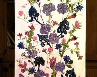 Real Pressed Flowers on 8 x 16 Watercolored Canvas Purple Pink Green Scarlet Red Flowers on Soft Purple Watercolors Original Pressed Flowers