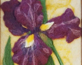 Wool Painting - Needle Felted Iris - Floral Art - Purple Flower - Needlefelt - Home Decor - Wall Art - Spring Flower - Fiber Art