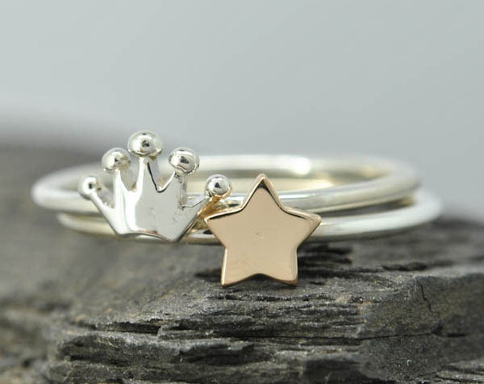 Moon ring, sun ring, star ring, half moon ring, stacking ring, personalized ring, sterling silver ring, gold plated, crescent moon ring