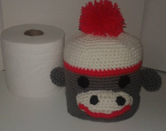 Sock Monkey Toilet Paper Cover, Cozy, Sock Monkey, Ready to Ship, Holder, Mother's Day Gift, Bathroom Decor, Stash, Storage, Chic, Retro