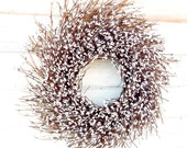 Winter Wreath-Winter Home Decor-Christmas Wreath-Farmhouse Wreath-Year Round Wreath-Wedding Decor-WHITE TWIG Wreath-Rustic Twig Wreath