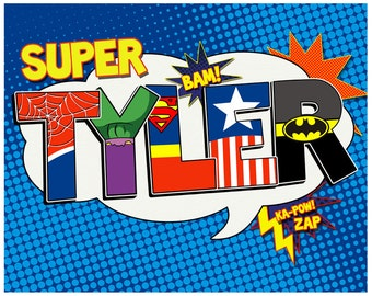 Personalized Superhero Name Digital file- 16x20