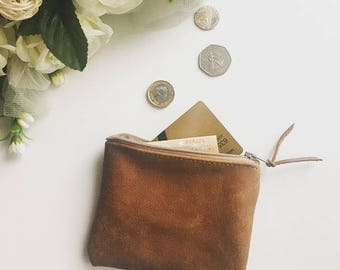 Leather coin purse, leather pouch lined / Leather card holder/ tan leather purse / distressed leather / leather wallet / gifts idea