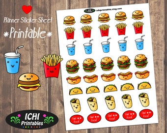 Fast Food Printable Planner Stickers, Fast Food Planner Stickers, Junk Food Stickers, burgers and Fries, Cute Food Stickers, Functional