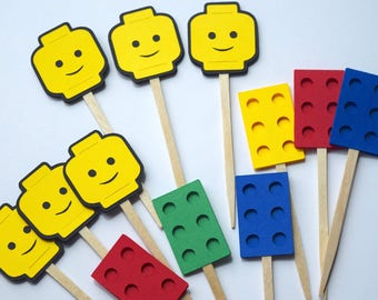 Building Blocks & Head 12pc Cupcake Toppers