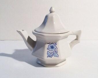 Vintage Blue and White Avon Teapot, Vintage Avon