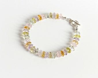 Bracelet pastel Amethyst Rose Quartz citrine Phrenit Lemonquarz Jewel Bracelet