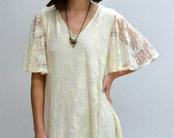 SOLD OUT Paisley Bell Sleeves Dress in Ivory