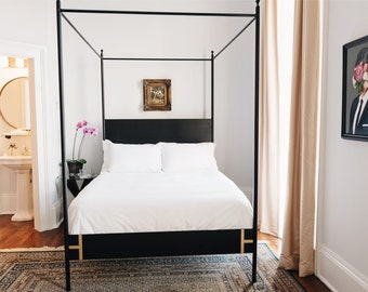 Josephine Bed- Four Poster King or Queen Black Iron Canopy Bed