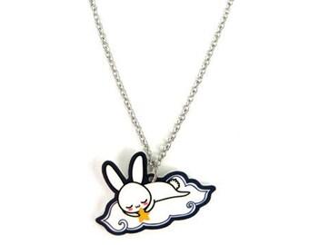 Cute Sleepy Bunny Charm Necklace, Korean Sleeping White Rabbit Tokki, Easter Gift for her, Kawaii Japanese Usagi, Fairytale Art Jewelry