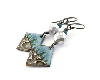 Handmade Earrings,  Enameled Earrings, Tree Earrings, Blue Green Earrings, Artisan Earrings,  Boho Earrings,  OOAK Earrings, AE165