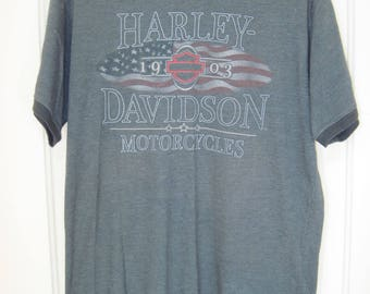 Vintage Harley-Davidson T-Shirt Gray size Large Wildwood NJ 2-sided graphics preowned collectible biker tee