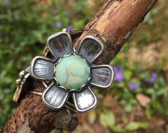 Groovy Turquoise Flower Ring