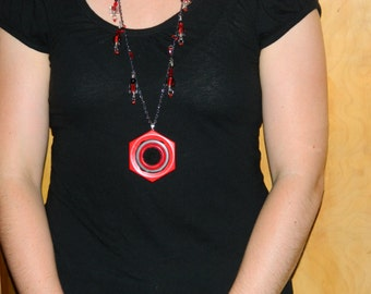 Sale Button Necklace - Reversible Red Buckle Pendant With Vintage Button Accents and Penny Rug Circle Necklace