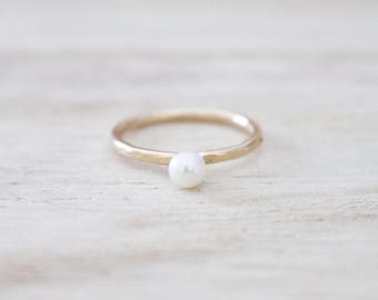 Gold pearl ring | Etsy