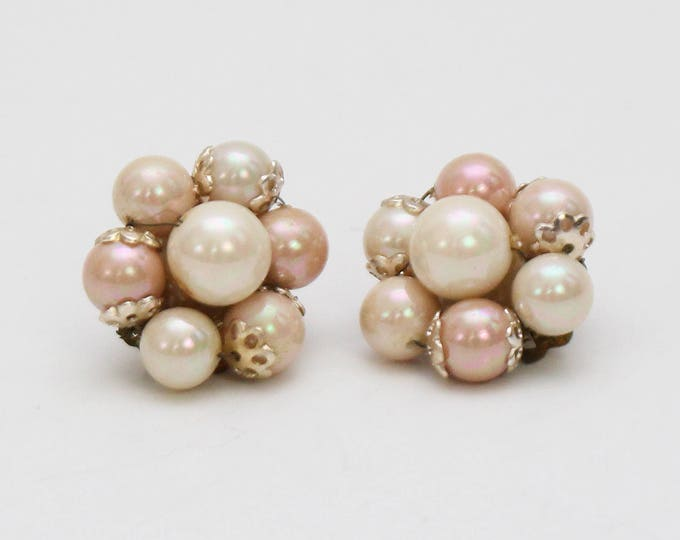 Vintage 1950s Blush Bead Cluster Clip Earrings