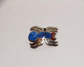 Vintage Sterling 925 Stamped Blue Red Enameled SpiderBrooch/Necklace.
