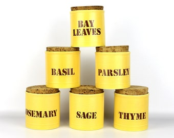 Set of Six 1970's Yellow Ceramic Spice Jars with Cork Tops and Fantastic Retro Stencil Typography!