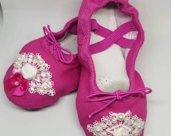 Pink ballet shoes, toddler flower girl shoes, ballet slippers