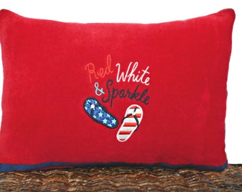 Red Flip Flops Accent Pillow Cushion White Blue Americana Patriotic Fourth of July Repurposed