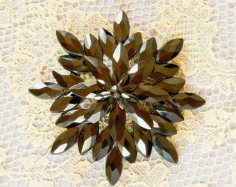 Victorian  Mourning Brooch,Vauxhall Glass,Starburst or Snowflake Design,Circa 1870-1890, Signed Packer Antique French Jet