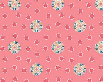 Fabric, Flourish Dots Pink, Cotton Fabric, Pink Fabric, Dots Fabric, Quilting Fabric, Fat Quarter, Fabric by the Yard