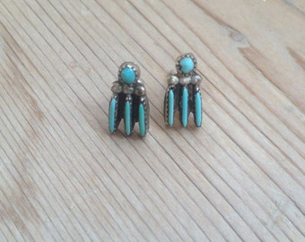 Vintage Zuni needlepoint turquoise Sterling silver earrings