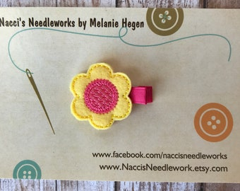 Felt Hair Clip- Spring Flower Hair Clip- Yellow Flower with Coral Center