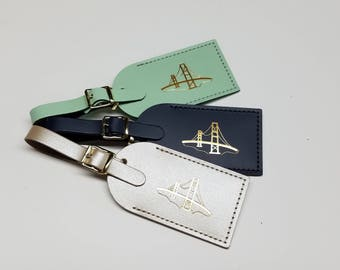 Golden Gate Bridge San Francisco- Luggage Tag Gifts - Traveler - Wedding - Birthday & More! made in the USA by @CurrysLeather