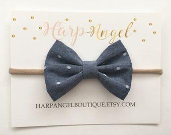 Chambray & White Polka Dot Fabric Bow Nylon One Size Headband or Hair Clip Newborn / Baby / Toddler / Girls