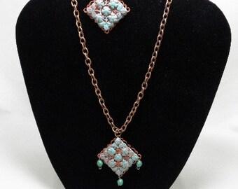 Copper Verdigris Diamond Set