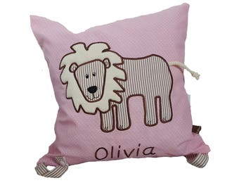 Cuddly pillow lion with name (pink)