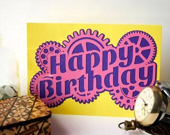 Steampunk Happy Birthday Card