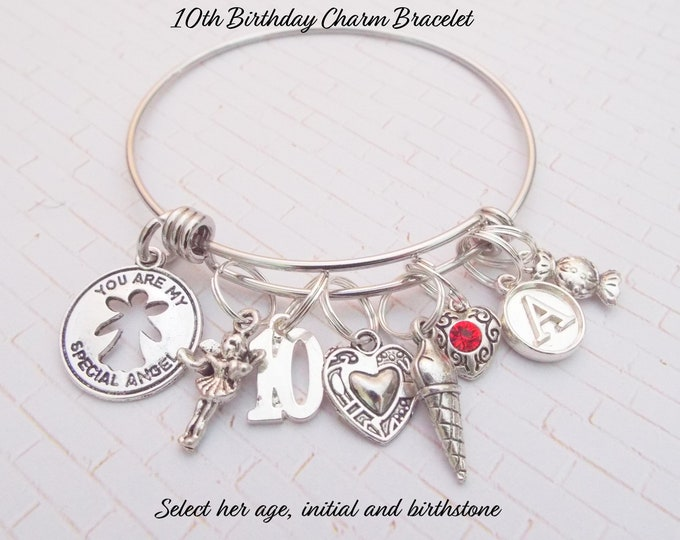 10th Birthday Girl, 10th Birthday Charm Bracelet, 10 Year Old Daughter Gift Ideas, Girls 10th Birthday Gift, 10 Year Old Girl Birthday