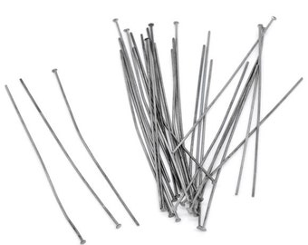 50pc Gunmetal Head Pin - 60mm + 21 Gauge - Jewelry Finding, Jewelry Making Supplies, Lead Free Earring Finding, Ships from the USA - HP11