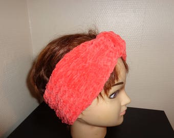 HEADBAND knitted in wool velvet orange