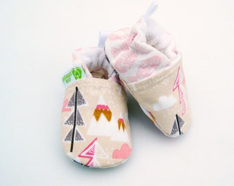 Classic Vegan Forest Mountains and Fish / All Fabric Soft Sole Baby Shoes / Made to Order / Babies