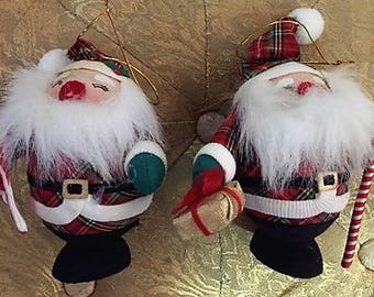 2 ADORABLE Vintage Santa Claus Christmas Ornaments