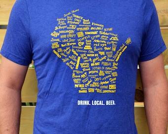 Drink Local Wisconsin Beer - T-shirt Unisex (navy blue)